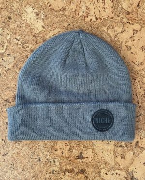 grey patch beanie